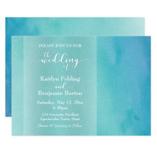 Boda horizontal de Ombre de la acuarela del azul y Invitación 12,7 X 17,8 Cm