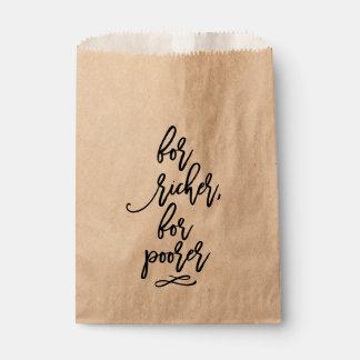 Boda indicado con letras de la mano elegante para bolsa de papel