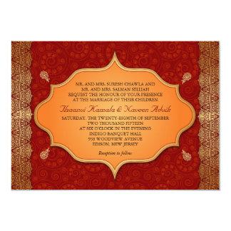 Boda indio dorado del marco del borde invitación 12,7 x 17,8 cm