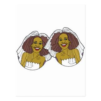 Boda lesbiano afroamericano tarjetas postales