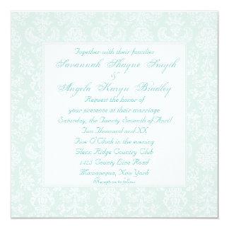Boda lesbiano bordado antigüedad del damasco invitación 13,3 cm x 13,3cm