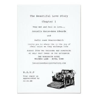 Boda lesbiano de la máquina de escribir del invitación personalizada