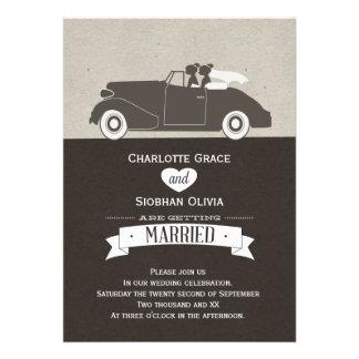 Boda lesbiano de la novia del coche dos del boda invitaciones personalizada