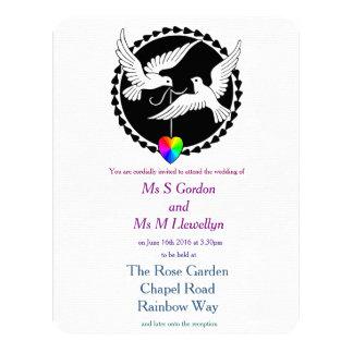 Boda lesbiano de las palomas del amor del corazón invitación 10,8 x 13,9 cm