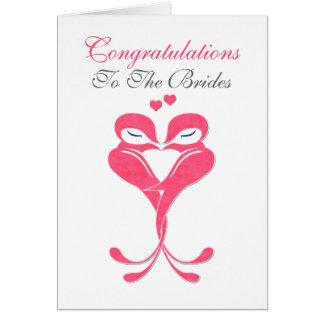 Boda lesbiano de los pájaros del amor de las tarjeta de felicitación