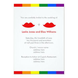 Boda lesbiano del arco iris de los labios de LGBT Invitación 12,7 X 17,8 Cm