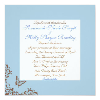 Boda lesbiano del chocolate y de la mariposa azul invitación 13,3 cm x 13,3cm