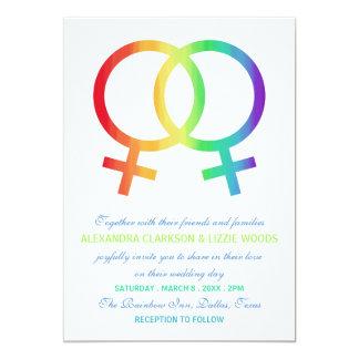 Boda lesbiano del símbolo el   de Venus del arco Invitación 12,7 X 17,8 Cm