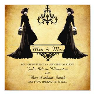 Boda lesbiano - estilo gótico de Steampunk Invitación 13,3 Cm X 13,3cm