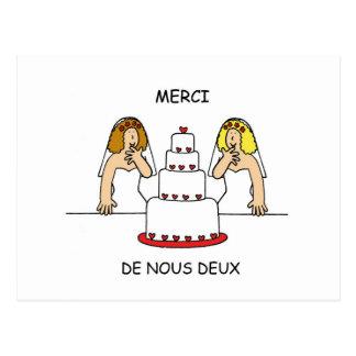 Boda lesbiano francés/gracias civiles de la unión tarjeta postal