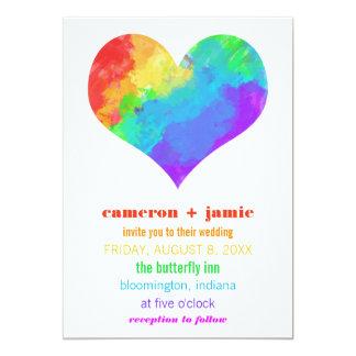 Boda lesbiano gay del corazón de la pintura del invitación 12,7 x 17,8 cm