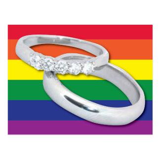 Boda lesbiano gay tarjeta postal