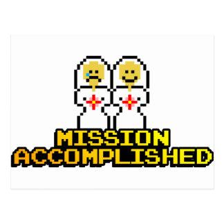 "Boda lograda ""misión"" (lesbiana, de 8 bits) tarjeta postal"