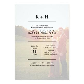 Boda minimalista de la foto invitación 12,7 x 17,8 cm