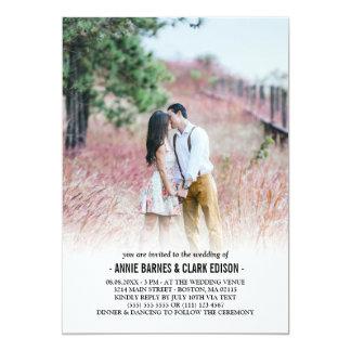 Boda minimalista romántico de la foto invitación 12,7 x 17,8 cm