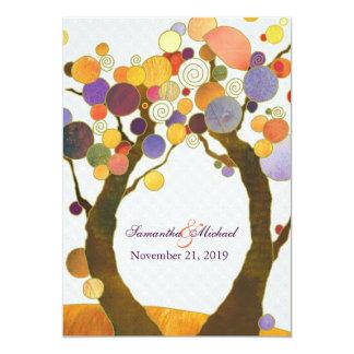 Boda moderno colorido de los árboles de amor de la invitación 12,7 x 17,8 cm