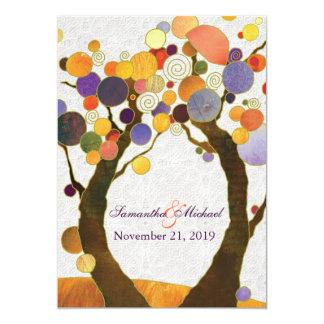 Boda moderno de los árboles de amor de la caída invitación 12,7 x 17,8 cm