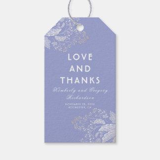 Boda moderno del follaje elegante púrpura de la etiquetas para regalos