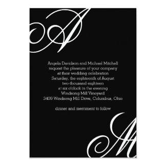 Boda moderno del monograma del borde invitación 12,7 x 17,8 cm