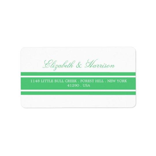 Boda moderno del verde esmeralda etiquetas de dirección