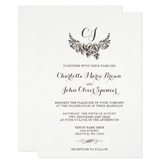 boda moderno simple del vintage invitación 12,7 x 17,8 cm