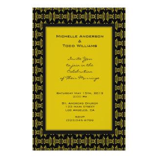 Boda negro amarillo del modelo folleto 14 x 21,6 cm