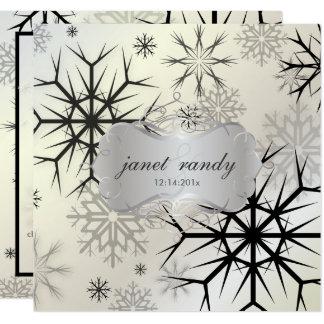 BODA NEGRO de PixDezines SNOWFLAKES/WINTER Invitación 13,3 Cm X 13,3cm