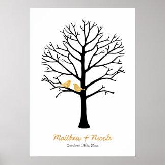 Boda negro del árbol de la huella dactilar de los póster