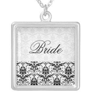 Boda negro elegante de la palabra de la novia del pendiente personalizado