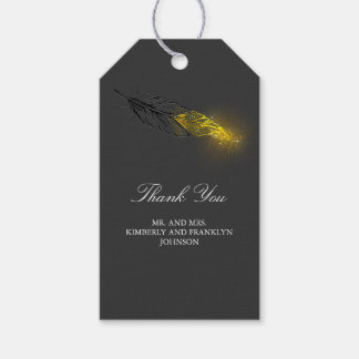 Boda negro elegante de la pluma del oro etiquetas para regalos