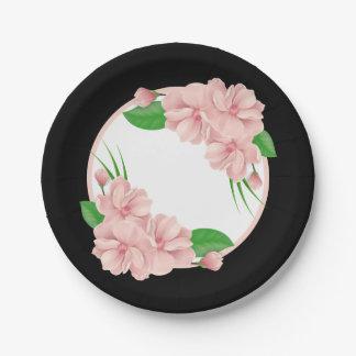 Boda negro/fiesta de las flores florales del rosa plato de papel