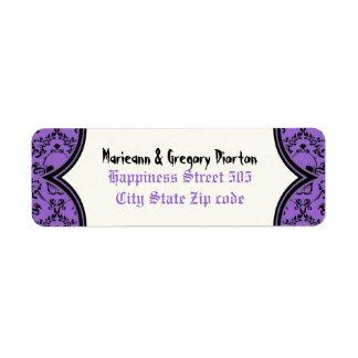 Boda negro púrpura de Halloween del damasco de los Etiqueta De Remitente