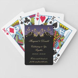 Boda negro púrpura de las mariposas 50.as del oro baraja de cartas bicycle