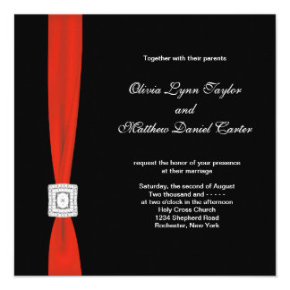Boda negro rojo del arco rojo negro invitaciones personalizada