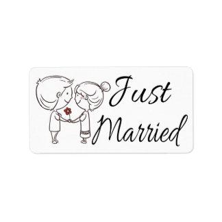 Boda negro y blanco casado apenas de la novia y etiquetas de dirección