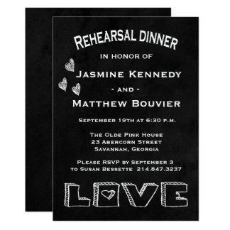 Boda negro y blanco de la cena del ensayo de la invitación 12,7 x 17,8 cm