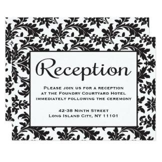 Boda negro y blanco de la recepción floral del invitación 8,9 x 12,7 cm