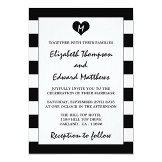 Boda negro y blanco elegante moderno invitación 12,7 x 17,8 cm