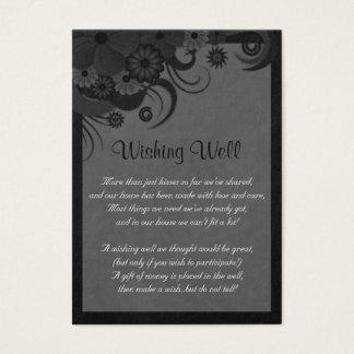 Boda negro y gris floral que desea tarjetas bien