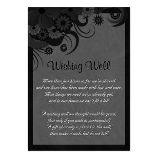 Boda negro y gris floral que desea tarjetas bien tarjetas de visita grandes
