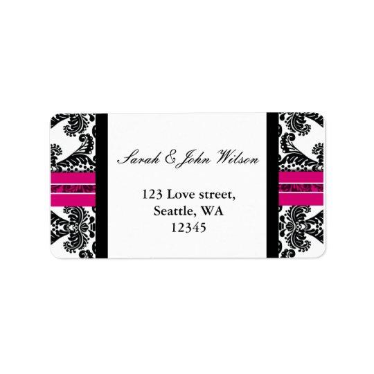 Boda negro y rosado del damasco etiquetas de dirección