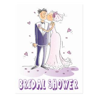 Boda nupcial púrpura de la novia y del novio del postal