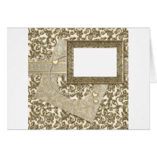 Boda o aniversario del oro con el marco de la foto tarjeta de felicitación