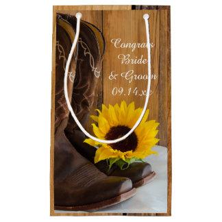 Boda occidental de la enhorabuena del girasol del bolsa de regalo pequeña