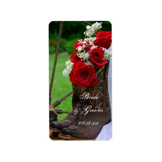 Boda occidental de los rosas de vaquero del país etiquetas de dirección