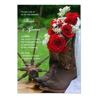 Boda occidental de los rosas de vaquero del país invitación 12,7 x 17,8 cm