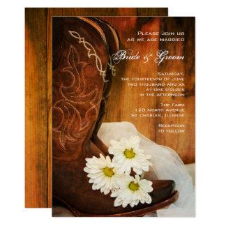 Boda occidental del país de las botas de vaquero invitación 12,7 x 17,8 cm
