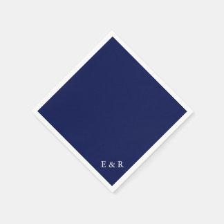 Boda oscuro clásico de los azules marinos servilletas de papel