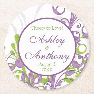 Boda personalizado floral verde púrpura posavasos de papel redondo