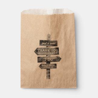 Boda personalizado país de madera rústico del bolsa de papel
